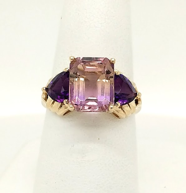 14K Yellow Gold Fashion Ring with 3.00ct Ametrine & (2) 1.25ctw Trillion-Cut Amethyst Accents finger size 7
