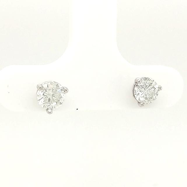 14K White Gold Round Brilliant .91ctw Diamond Studs G/J color - SI2/I1 clarity