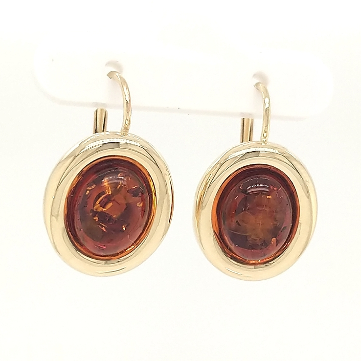 14K Yellow Gold Amber Leverback Earrings