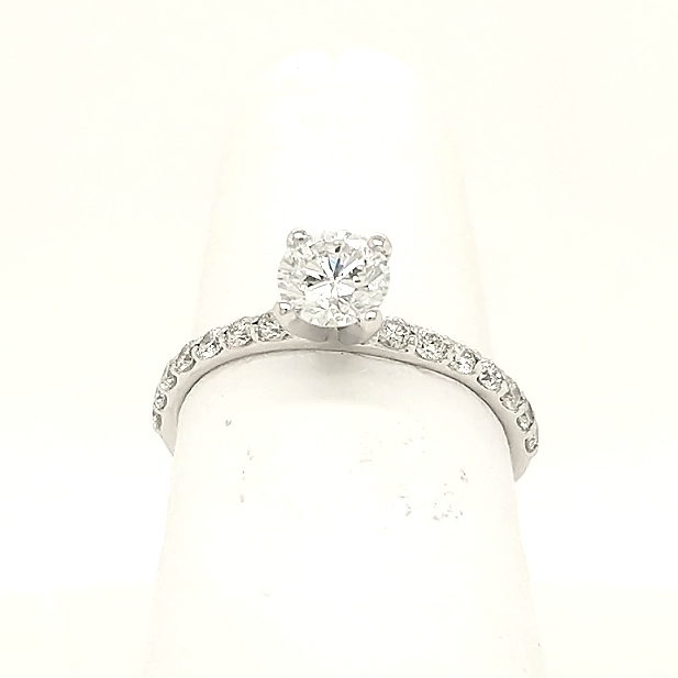 14K White Gold Engagement Ring with .50ct G-Si2 Round Brilliant Center Diamond with .30ctw melee - finger size 5.5