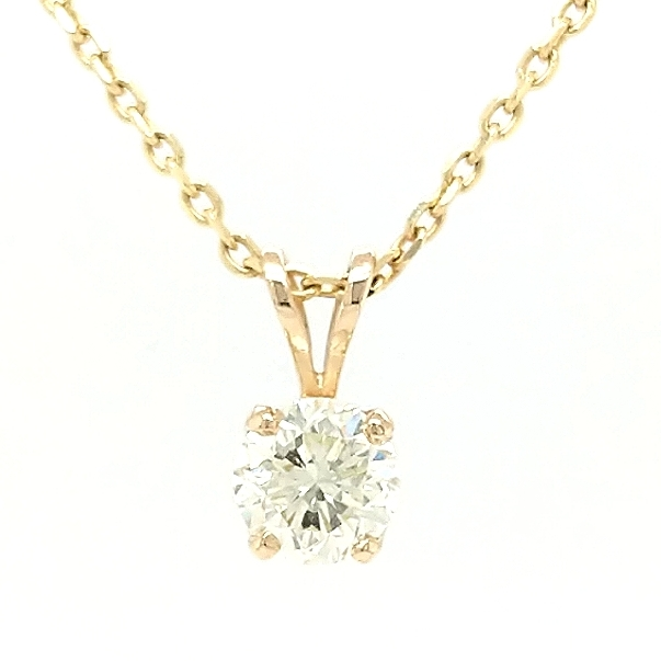 14K Yellow Gold .95ctw Round Brilliant Diamond Pendant