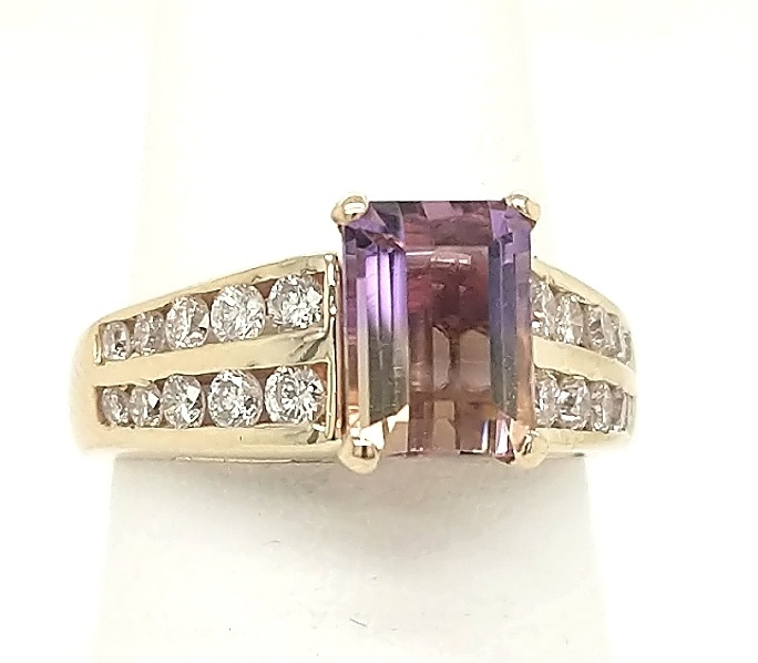 14K Yellow Gold 1.60ct Ametrine & .52ctw Diamond melee Fashion Ring finger size 6