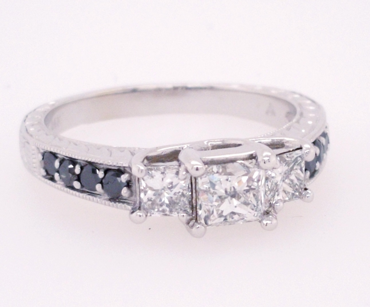 14K White Gold .45ct Princess Cut Engagement ring with .50ctw side diamonds & black diamond melee - finger size 7