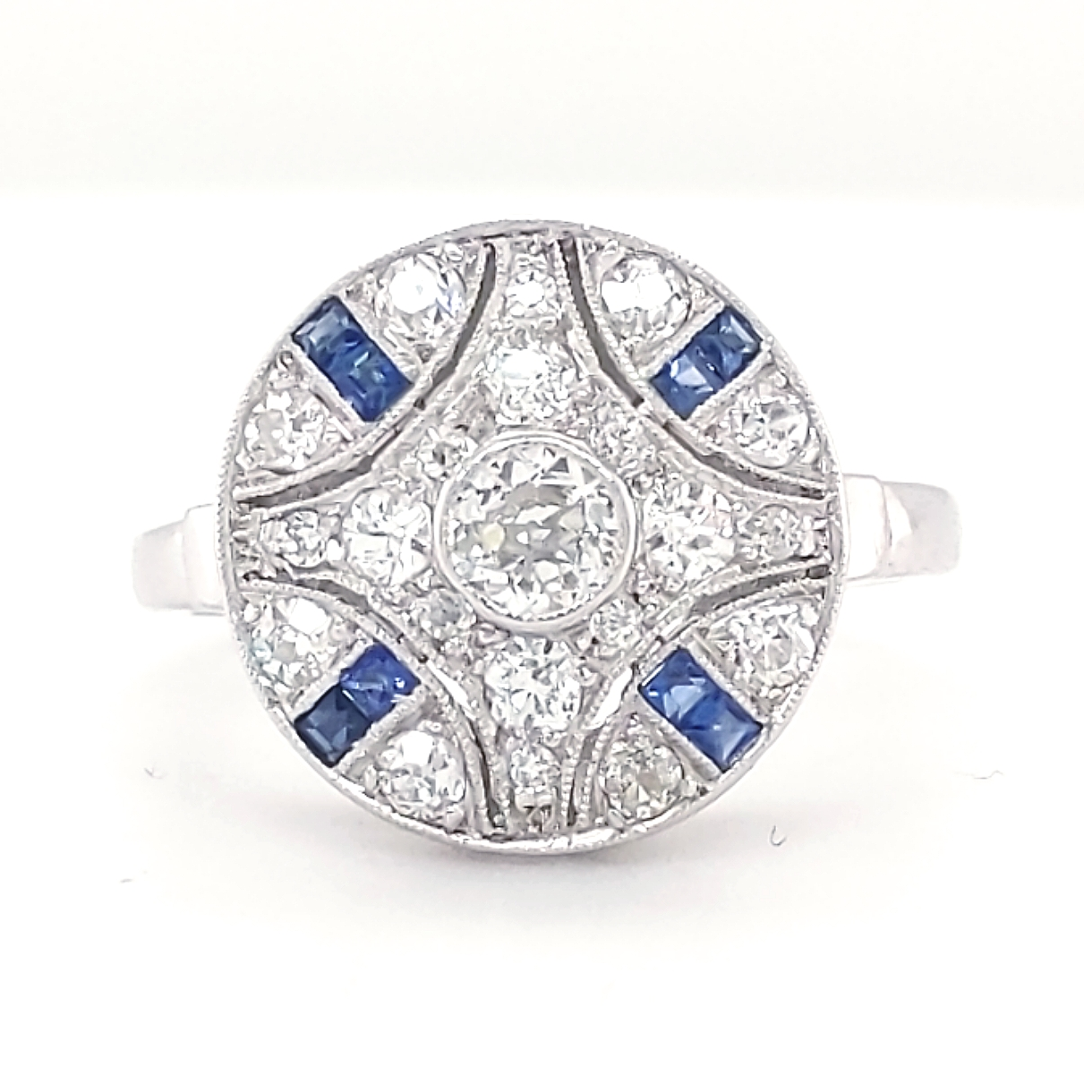 14K White Gold .50ctw Diamond & Sapphire Fashion Ring finger size 7